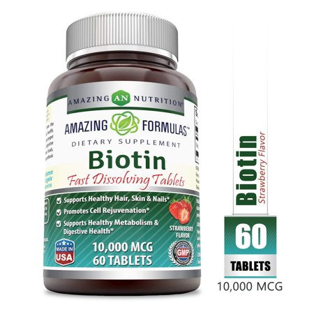 Amazing Formulas Biotin Fast Dissolving Tablets - 10000 MCG Tablets (Non-GMO) - Supports Healthy Hair, Skin & Nails - Promotes Cell Rejuvenation - Supports Healthy (60 Count, Strawberry Flavor) Ultra Nails 60 Tablets