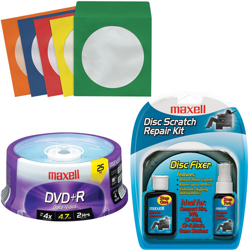 Maxell 25 Count DVD+R, 50 Color Sleeves, Scratch Repair Kit