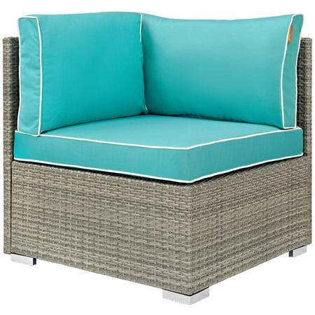 Modern Contemporary Urban Design Outdoor Patio Balcony Garden Furniture Sofa Corner Chair, Sunbrella Rattan Wicker, Blue Light Gray