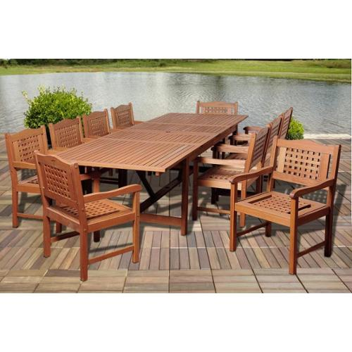Amazonia Ashley 11-piece Eucalyptus Wood Double Extendable Rectangular Dining Room Set by Overstock