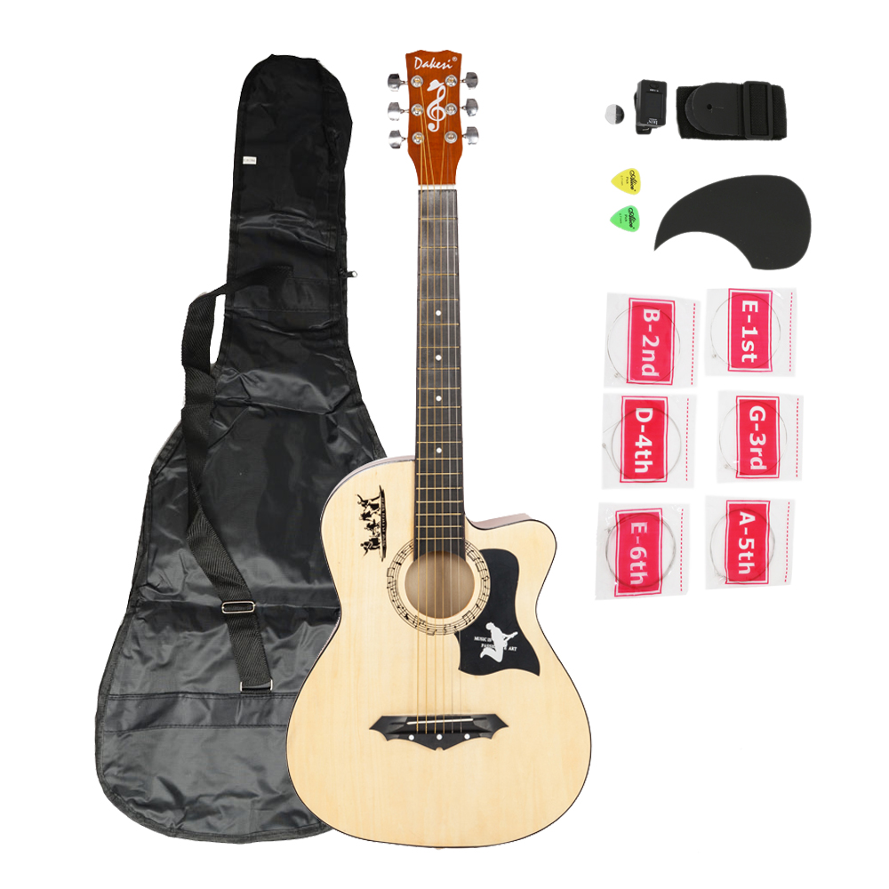 Zimtown DK-38C Basswood Acoustic Guitar + Bag + Straps + Picks + LCD Tuner + Pickguard +... by