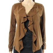INC NEW Brown Womens Size Small S Ruffled Draped Faux-Suede Panel Jacket