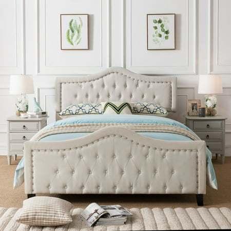 Noble House Vicki Fabric Tufted Upholstered Queen Bed, Ivory ()