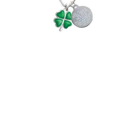 - Silvertone Translucent Green Lucky Four Leaf Clover Stronger Braver Smarter Engraved Necklace