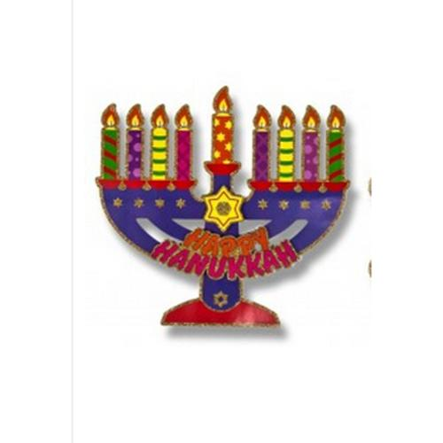 """15.5"""" 3D Glitter Embellished Colorful """"Happy Hanukkah"""" Holiday Cutout Decoration"""