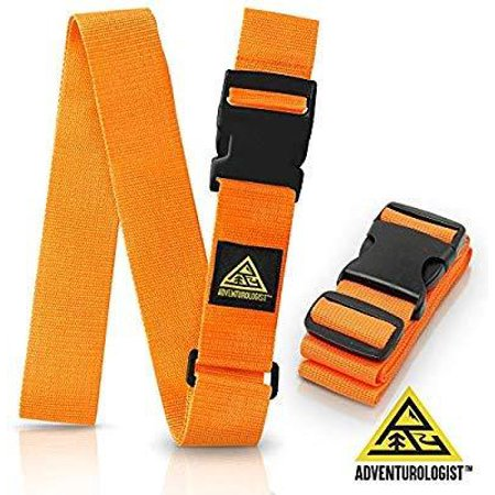 TRAVEL LUGGAGE STRAP- SET OF 2 ORANGE ADJUSTABLE STRAPS - Best Belt to Keep Your Bags Secure and Spot Your (Trunkies Suitcases Best Price)