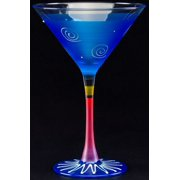 Set of 2 Truquoise & White Hand Painted Martini Drinking Glasses - 7.5 Ounces