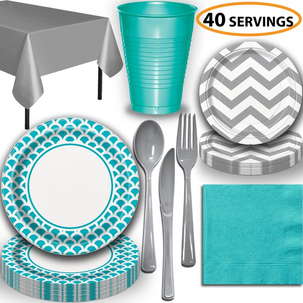 Disposable Tableware, 40 Sets - Caribbean Teal and Silver ...