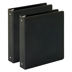 "Just Basics Economy Reference Binder, 1 1 2"" Rings, Black, 64% Recycled, Pack Of 2 Binders by"