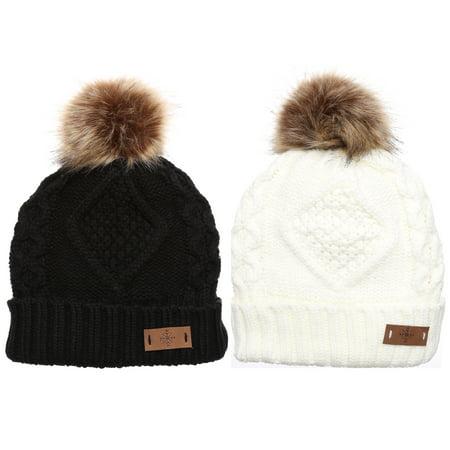 MIRMARU - MIRMARU Women s Winter Fleece Lined Cable Knitted Pom Pom Beanie  Hat. - Walmart.com 5b27da5a136