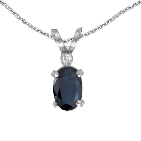 10k White Gold Oval Sapphire And Diamond Filigree Pendant with 16