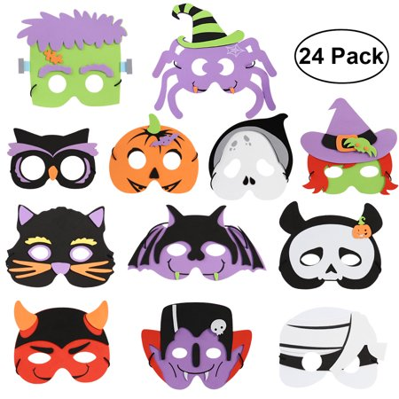 UNOMOR 2 Sets of 12 Different Kinds of Patterns DIY Halloween Foam Mask for Kids Children Halloween Costume