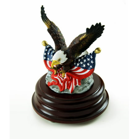 Patriotic American Bald Eagle With Dual USA Flags Musical Figurine - Over 400 Song Choices - Blue Hawaii (L (It's Halloween Night Song)