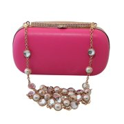 Chicastic Satin Hard Box Cocktail Clutch Purse with Rhinestone Studded Chain Blue