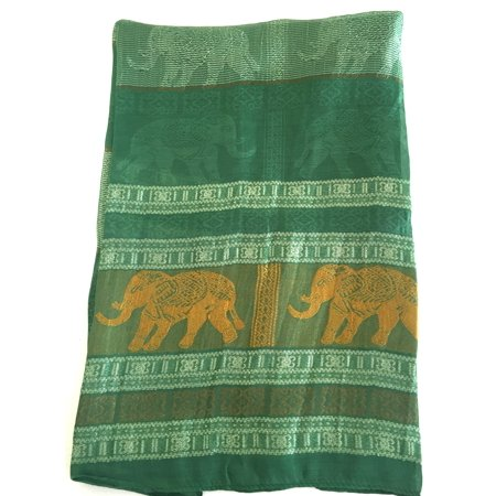 Oma Thai Silk Scarf With Elephant Design Large Shawl Head Wrap Green & Gold Color, LARGE SIZE