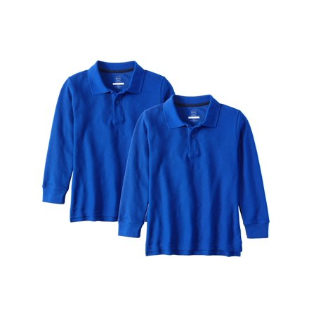 Boys School Uniform Long Sleeve Double Pique Polo, 2-Pack Value - Back To School Kids Clothes