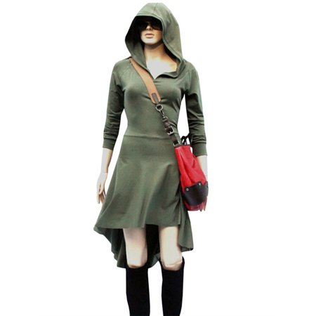 Long Sleeve Hooded Irregular Dress Strappy Wasit Slim - Hood Dress