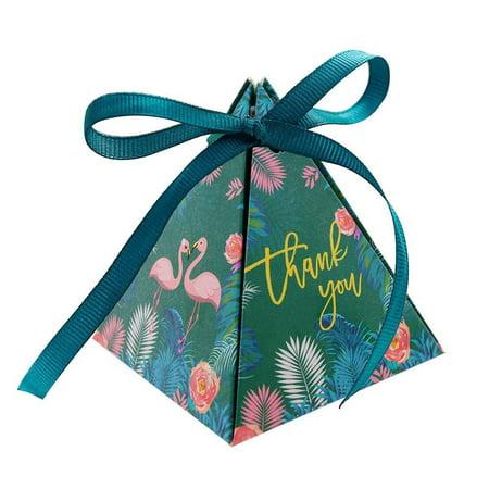 Decorative Favor Boxes (Triangle Gift Box?50pcs Flamingo Paper Boxes Wedding Party Favor Candy Decorative Box with Ribbon Triangle Gift)