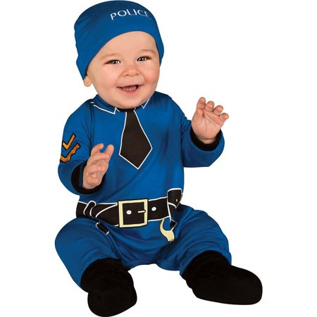 rubie's costume baby's first halloween policeman one-piece printed jumper hat and booties, blue, 0-6 months (Baby's First Halloween Costume)