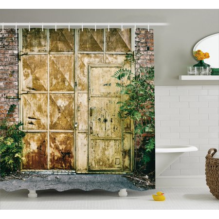 Industrial Shower Curtain  Rustic Brick House Still Door With Moss And Dirt Urban Garage Outdoor Image  Fabric Bathroom Set With Hooks  69W X 70L Inches  Green Yellow  By Ambesonne