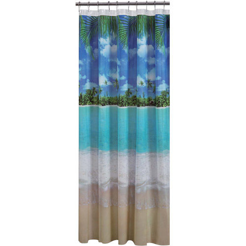 Mainstays Photoreal Beach PEVA Shower Curtain
