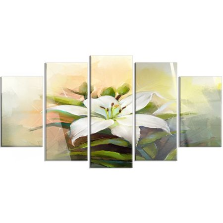 Lilies Oil Painting - Design Art 'White Lily Flower Oil Painting' 5 Piece Painting Print on Canvas Set