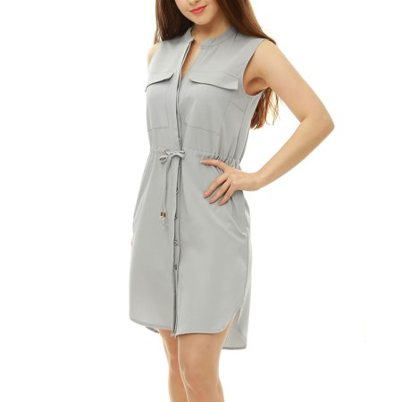 Image of Allegra K Woman Drawstring Waist Sleeveless Shirt Dress Gray (Size S / 4)