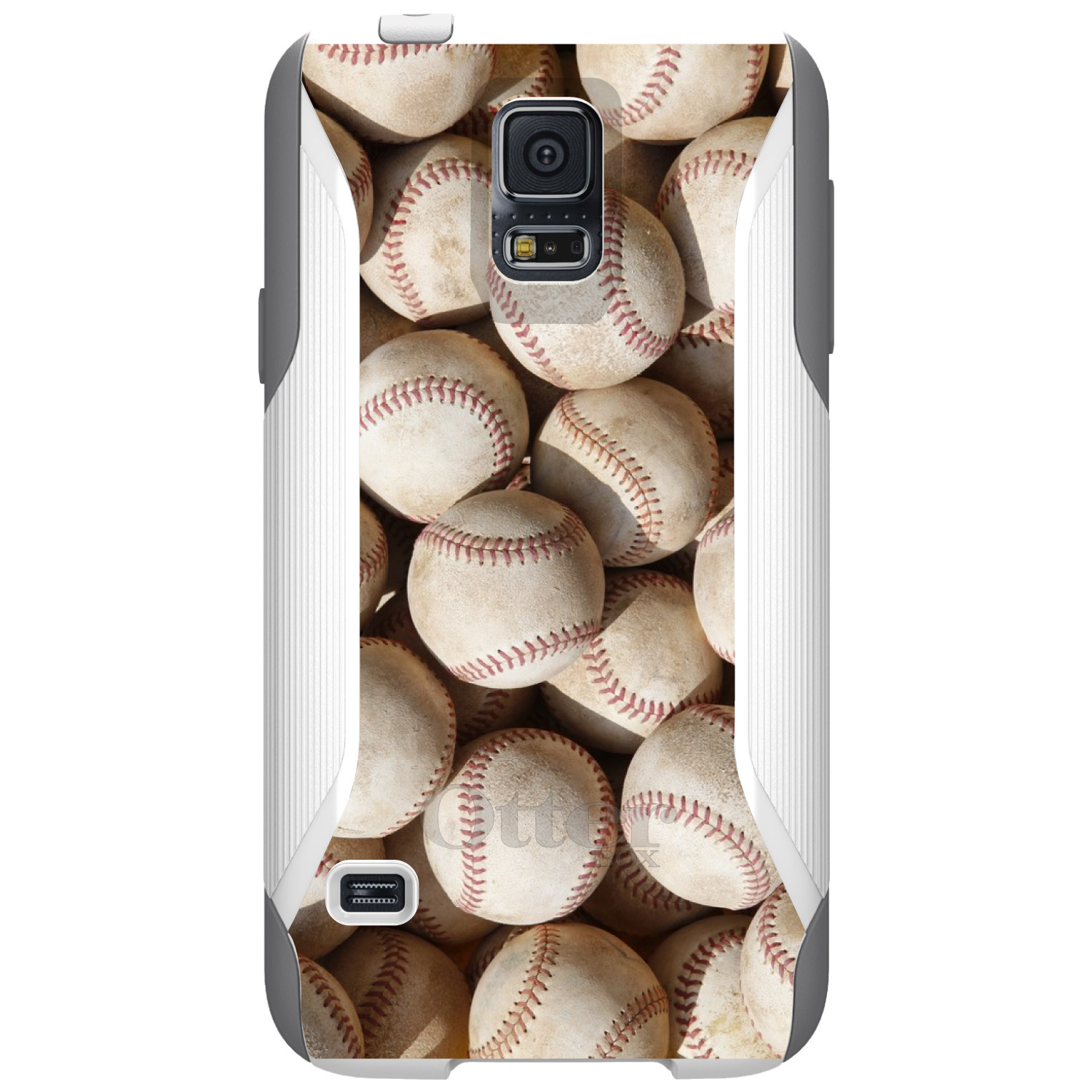 DistinctInk™ Custom White OtterBox Commuter Series Case for Samsung Galaxy S5 - Old Baseballs