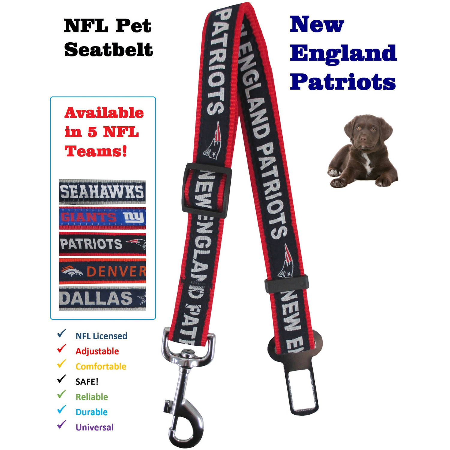 Pets First NFL New England Patriots Pet Seat Belt Restraint