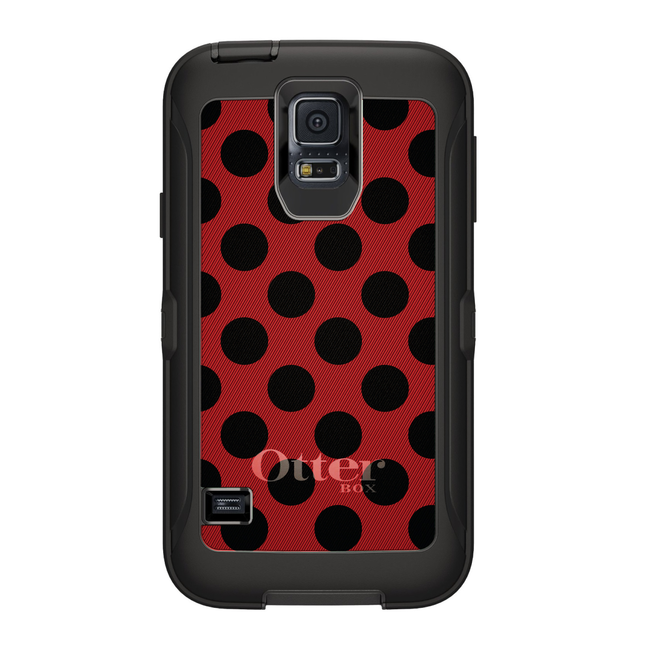 DistinctInk™ Custom Black OtterBox Defender Series Case for Samsung Galaxy S5 - Black & Red Polka Dots