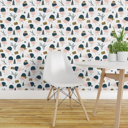 Peel and Stick Removable Wallpaper Tiny Birds Festive Winter Animals H
