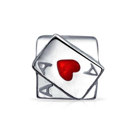 Ace Of Hearts Casino Poker Playing Card Game Charm Bead For Women For Teen 925 Sterling Silver Fits European