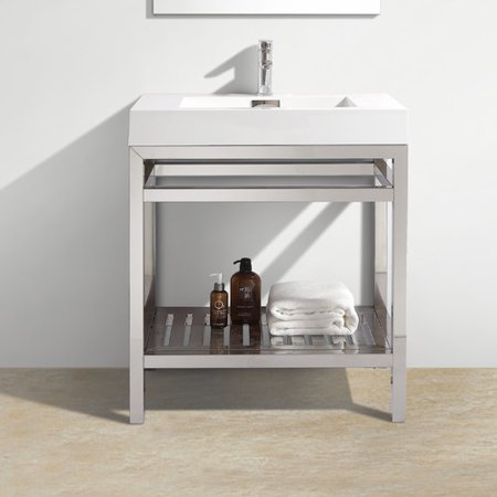 Kube Bath Cisco 30 Modern Stainless Steel Vanity Base