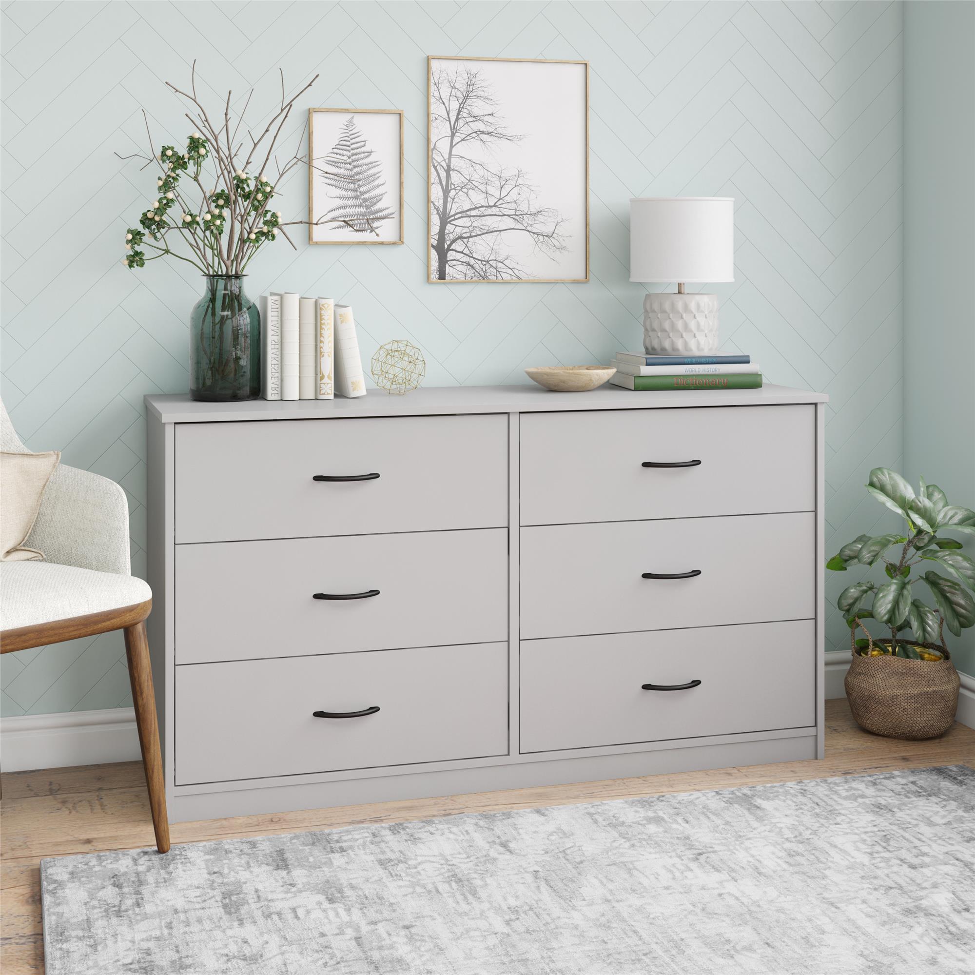 Mainstays Classic 6 Drawer Dresser Dove Gray Walmart Com Walmart Com