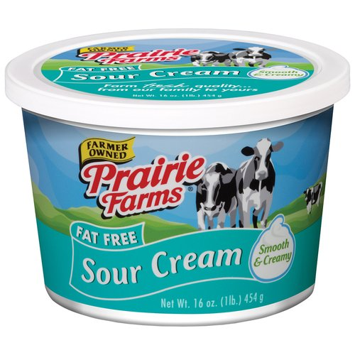 Prairie Farms Fat Free Sour Cream, 16 Oz.
