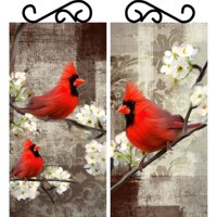 PTM Images, Perched Red Birds, Set of 2, Decorative Wall Art