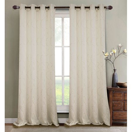 Crescent Embroidered 56 x 84 in. Lined Grommet Curtain Panel, Ivory