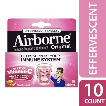 Airborne Vitamin C Tablets, Pink Grapefruit, 1000mg - 10 Effervescent Tablets (Vitamin C Hydrochloric Acid)