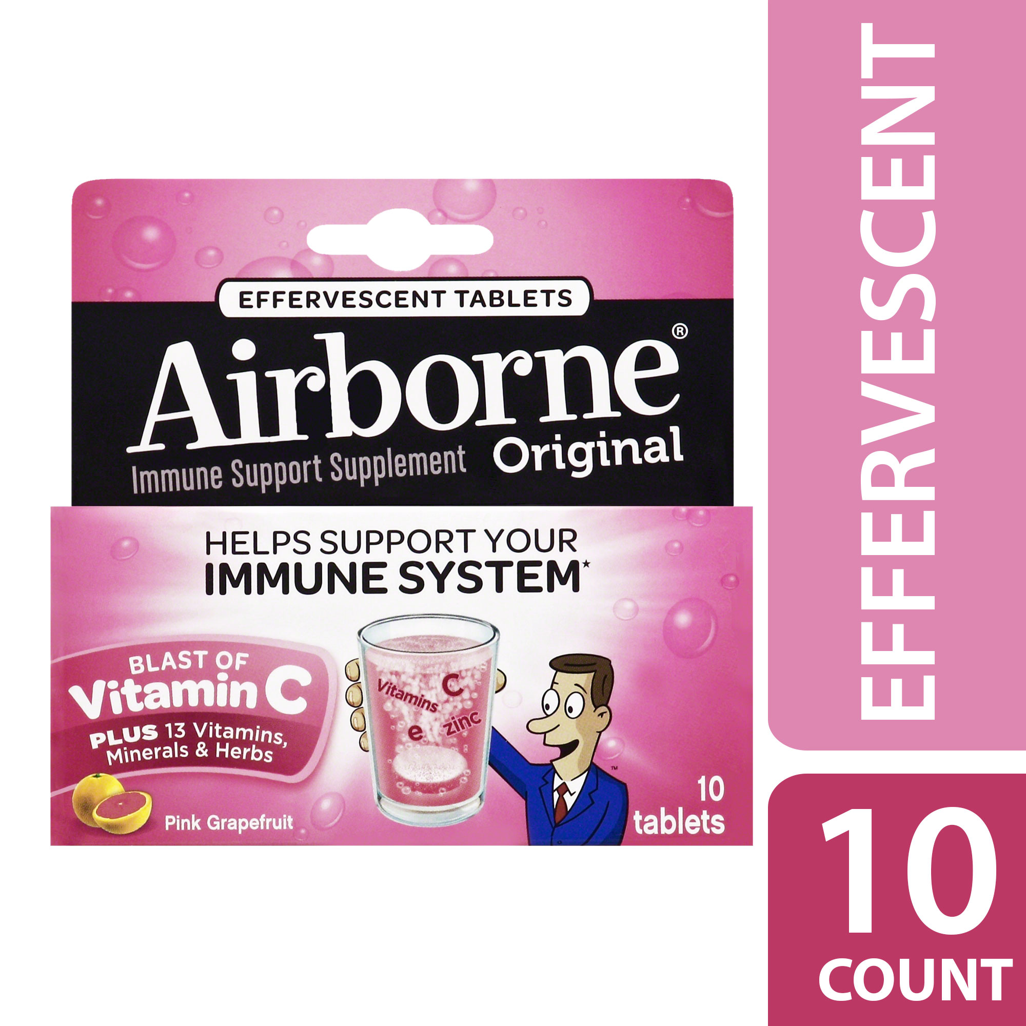 Airborne Pink Grapefruit Effervescent Tablets, 10 count - 1000mg of Vitamin C - Immune Support Supplement