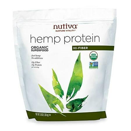 Nutiva Organic, Cold-Processed Hemp Protein from non-GMO, Sustainily Farmed Canadian Hempseed, Hi-Fiber, 3-Pound Bag