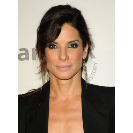 Sandra Bullock  Wearing Irit Design Earrings  At Arrivals For Amfar Inspiration Gala Los Angeles Rolled Canvas Art     8 X 10