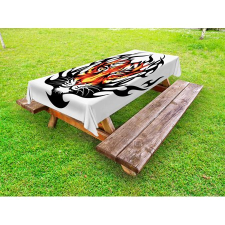Tattoo Outdoor Tablecloth, Jungle Prince Tigers Head in Black Flames Frame Looking with Cat Eyes Hunting, Decorative Washable Fabric Picnic Table Cloth, 58 X 84 Inches,Black and Orange, by - Prince Wall Cloths