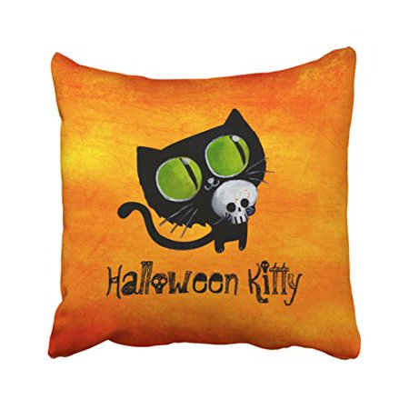 WinHome Vintage Lovely Black Cat With Skull Halloween Kitty Orange Polyester 18 x 18 Inch Square Throw Pillow Covers With Hidden Zipper Home Sofa Cushion Decorative - Halloween Black Cat Vintage