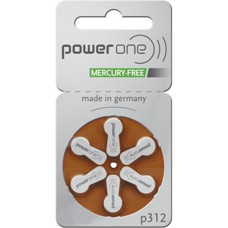 Power One Size 312 Zinc Air Hearing Aid Batteries No Mercury (42 batteries)