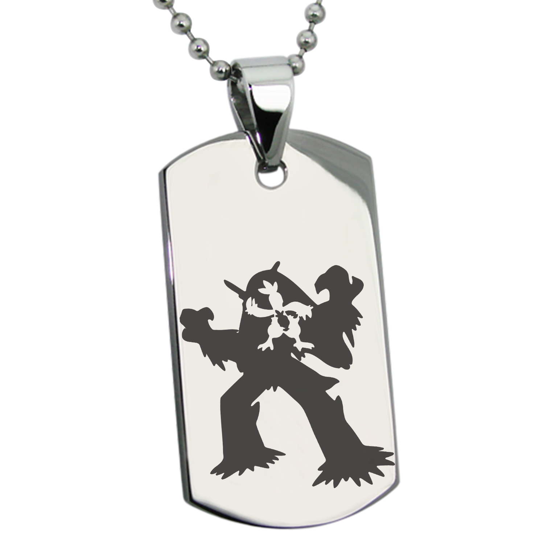 Stainless Steel 3rd Gen Torchic Combusken Blaziken Pokémon Engraved Dog Tag Pendant
