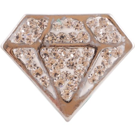 1 PC - 18MM Diamond Rhinestone Silver Tone Charm for Candy Snap Jewelry KC4023