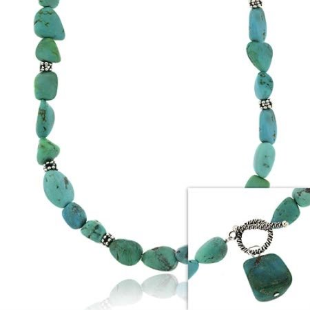 Sterling Silver Genuine Blue Turquoise stone bali bead nugget toggle Necklace
