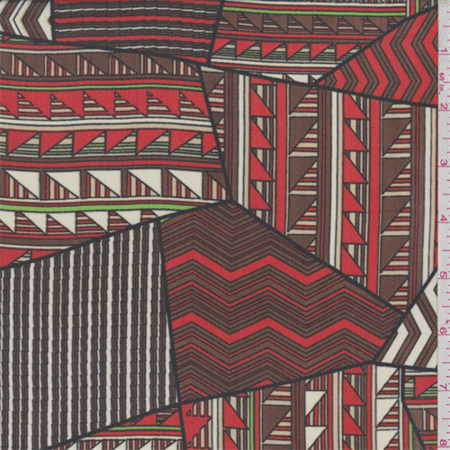 Red Quilt Fabric (Brown/Fire Red Triangle Patchwork Polyester Chiffon, Fabric By the)
