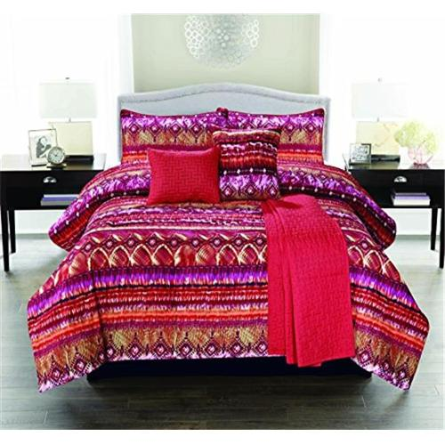 Luxury Home Morocco Comforter Twin, Red - 5 Piece Set