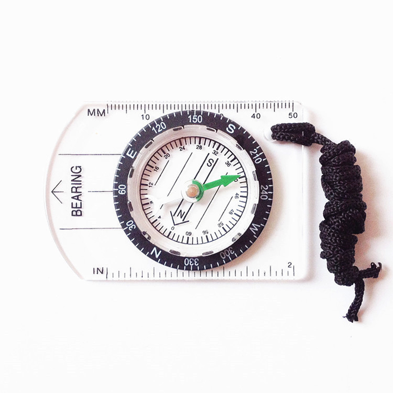 Multifunctional Outdoor Equipment Portable Compass Map Scale Ruler for Hiking Camping by